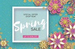 Sale. Origami Spring Flowers Banner. Paper cut Floral Greetings card. Spring blossom. Square frame. Happy Women s Day. 8. March. Text. Seasonal holiday on blue vector illustration