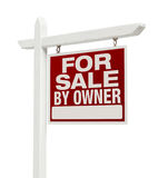 For Sale By Owner Real Estate Sign Isolated on White Royalty Free Stock Images