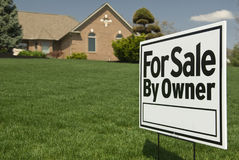 For Sale By Owner Sign In Front of House Stock Image