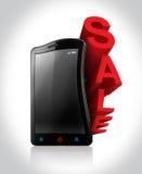 Sale på Smartphone vektor illustrationer