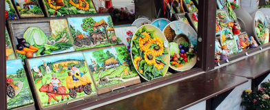 Sale of painted souvenir ware on city streets. Sale of national painted souvenir ware on streets of Moscow Stock Photos