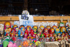 Sale of painted wooden dolls Royalty Free Stock Photo
