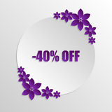 Sale paper badge with paper violet flowers on grayscale backgrou Stock Photos