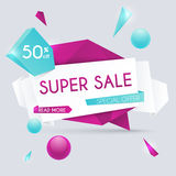 Sale paper banner. Sale and discounts. Super Sale and special of Stock Photos