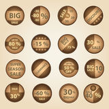 Sale paper brown circle icons set for discount shop eps10 Royalty Free Stock Photos