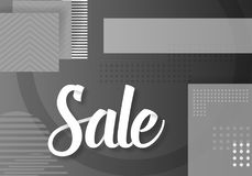 Sale Paper Lettering Template. Modern Sale Lettering on Trendy 90s Style Geometric Background Royalty Free Stock Images