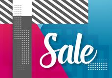 Sale Paper Lettering Template. Modern Sale Lettering on Trendy 90s Style Geometric Background Stock Photos