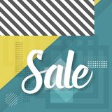 Sale Paper Lettering Template. Modern Sale Lettering on Trendy 90s Style Geometric Background Royalty Free Stock Photography