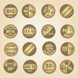 Sale paper retro circle icons set for discount shop eps10 Royalty Free Stock Image