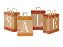 Sale paper shopping bags Royalty Free Stock Photo