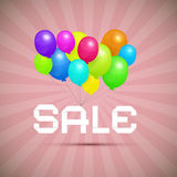 Sale Paper Title With Colorful Balloons Stock Image