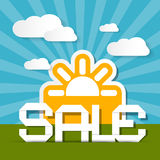 Sale Paper Title on Landscape Background Stock Images