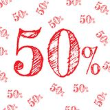 Sale pattern discount 50% red on white background. vector.  Vector Illustration