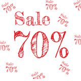 Sale pattern discount 70% red on white background. vector.  royalty free illustration