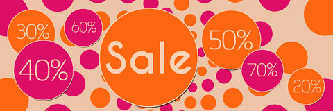 Sale Peach Pink Banner. A graphical image with different sale percentage and sale text vector illustration