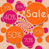 Sale Peach Pink Square. A graphical image with different sale percentage and sale text stock illustration