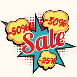 Sale 50 30 25 percent discount comic book word Royalty Free Stock Image