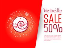 Sale 50 percent discount. Illustration of love and valentine day. Sale 50 percent discount Stock Image