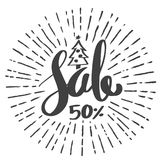 Sale 50 percent drawing style for Christmas promotion advertisin Stock Photos