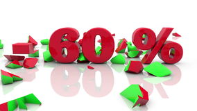 Sale and 60 percent inscription concepts on a white stock video footage