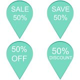 Sale 50 percent, Label. Sale  50 percent, Label on white background. Vector Stock Photos