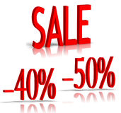Sale and percent number. Percent number and sale word on white stock images