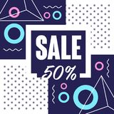 Sale 50 percent off banner template design, seasonal discount, advertising poster with geometric shapes vector. Illustration, web design Royalty Free Stock Photography