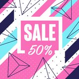 Sale 50 percent off banner template design, seasonal discount, poster with geometric shapes vector Illustration. Web design stock illustration