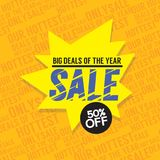 Sale 50 Percent Off Big Deals Of The Year Banner. Vector Illustration Royalty Free Stock Photography