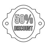Sale 50 percent off discount lable icon. Outline illustration of sale 50 percent off discount lable vector icon for web Stock Photography