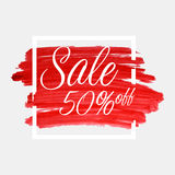 Sale, 50 percent off lettering on watercolor stroke with white frame. Red grunge abstract background brush paint texture. Vector Royalty Free Illustration