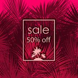 Sale 50 percent off on palm tree background. Sale 50 percent off on pink palm tree branches background. Vector illustration Stock Photo