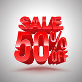 Sale 50 percent off red 3D style. Royalty Free Stock Photography