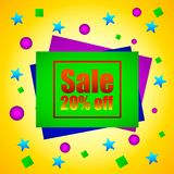 Sale 20 percent off, sheets of paper with the inscription sale, discounts. On the background of colorful balloons and stars. Vector Illustration vector illustration