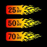Sale 25 50 70 percent off tags. Hot sale 25 50 70 percent off tags Stock Image