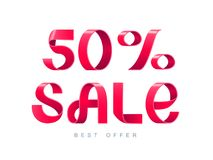 Sale 50 percent off. Vector illustration. Red Ribbon isolated on white background. Sale 50 percent off. 50 discount. Sale symbol, sticker tag, special offer Royalty Free Stock Photo