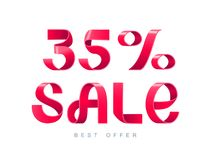 Sale 35 percent off. Vector illustration. Red Ribbon isolated on white background. Sale 35 percent off. 35 discount. Sale symbol, sticker tag, special offer Stock Photography