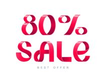Sale 80 percent off. Vector illustration. Red Ribbon isolated on white background. Sale 80 percent off. 80 discount. Sale symbol, sticker tag, special offer Stock Photos