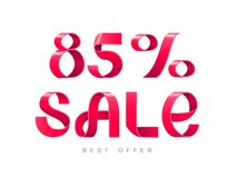 Sale 85 percent off. Vector illustration. Red Ribbon isolated on white background. Sale 85 percent off. 85 discount. Sale symbol, sticker tag, special offer Royalty Free Stock Image