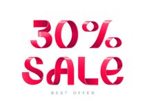 Sale 30 percent off. Vector illustration. Red Ribbon isolated on white background. Sale 30 percent off. 30 discount. Sale symbol, sticker tag, special offer Royalty Free Stock Photos