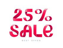 Sale 25 percent off. Vector illustration. Red Ribbon isolated on white background. Sale 25 percent off. 25 discount. Sale symbol, sticker tag, special offer Stock Photography