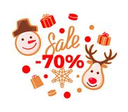 Sale 70 Percent Price More Half Off Reduced Cost. Sale 70 percent price more than half off reduced cost logo vector. Snowman and reindeer with horns, winter royalty free illustration