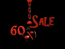 Sale 60%. Sale with percent sign with hearts in a glass ball hanging on a chain. 3d Illustration royalty free illustration
