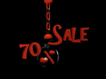 Sale 70%. Sale with percent sign with hearts in a glass ball hanging on a chain. 3d Illustration royalty free illustration