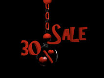 Sale 30%. Sale with percent sign with hearts in a glass ball hanging on a chain. 3d Illustration vector illustration