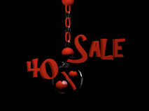 Sale 40%. Sale with percent sign with hearts in a glass ball hanging on a chain. 3d Illustration stock illustration