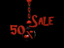 Sale 50%. Sale with percent sign with hearts in a glass ball hanging on a chain. 3d Illustration Royalty Free Stock Photo