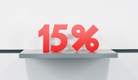 Sale at 15 percent. Sticker with sale percent on the show-case in the store Royalty Free Stock Images