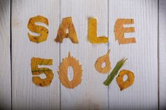 Sale 50 percent. The text `sale, 50 percent` cut from different yellow and orange fallen leaves from the trees and laid on the white wooden boards Stock Photography