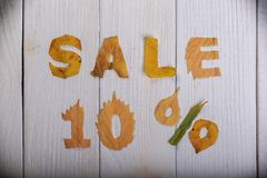 Sale 10 percent. The text `sale, 10 percent` cut from different yellow and orange fallen leaves from the trees and laid on the white wooden boards Royalty Free Stock Photo